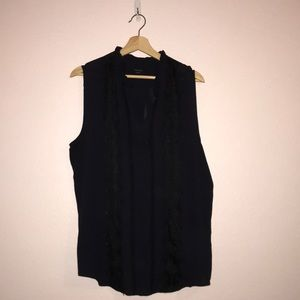 Ann Taylor XXL lace trimmed navy blouse